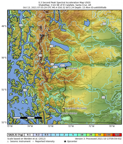 0.3 Second Peak Spectral Acceleration Map for the El Calafate, Argentina 5.4m Earthquake, Wednesday Oct. 13 2021, 4:55:29 AM