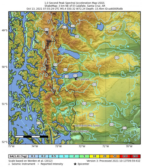 1 Second Peak Spectral Acceleration Map for the El Calafate, Argentina 5.4m Earthquake, Wednesday Oct. 13 2021, 4:55:29 AM