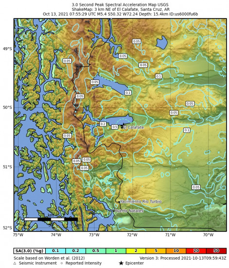 3 Second Peak Spectral Acceleration Map for the El Calafate, Argentina 5.4m Earthquake, Wednesday Oct. 13 2021, 4:55:29 AM