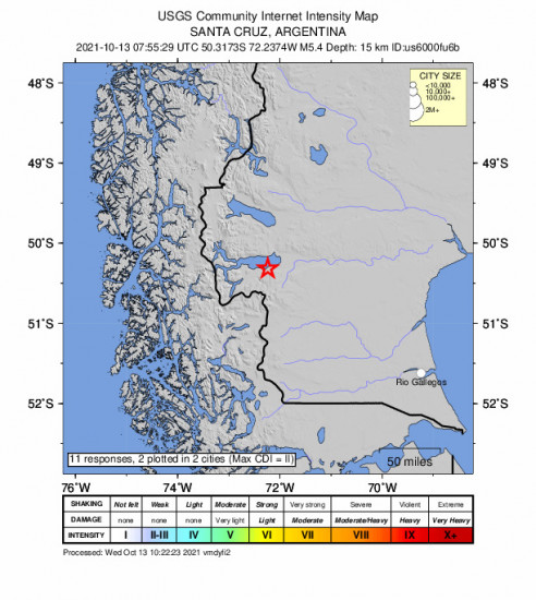 Community Internet Intensity Map for the El Calafate, Argentina 5.4m Earthquake, Wednesday Oct. 13 2021, 4:55:29 AM