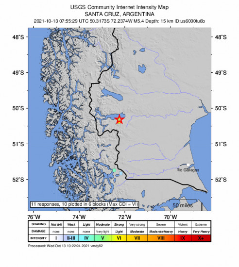 GEO Community Internet Intensity Map for the El Calafate, Argentina 5.4m Earthquake, Wednesday Oct. 13 2021, 4:55:29 AM