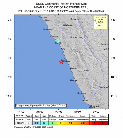 Community Internet Intensity Map for the Northern Peru 4.6m Earthquake, Wednesday Oct. 13 2021, 4:07:41 AM