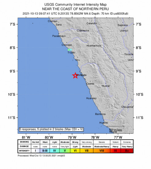 GEO Community Internet Intensity Map for the Northern Peru 4.6m Earthquake, Wednesday Oct. 13 2021, 4:07:41 AM