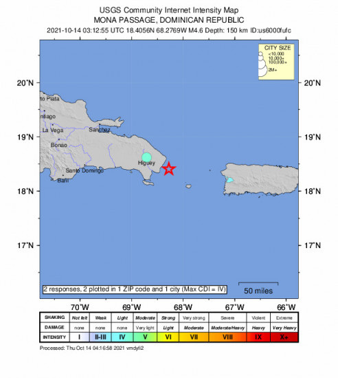 Community Internet Intensity Map for the Punta Cana, Dominican Republic 4.6m Earthquake, Wednesday Oct. 13 2021, 11:12:55 PM