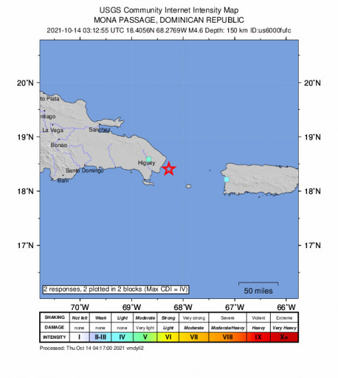 GEO Community Internet Intensity Map for the Punta Cana, Dominican Republic 4.6m Earthquake, Wednesday Oct. 13 2021, 11:12:55 PM