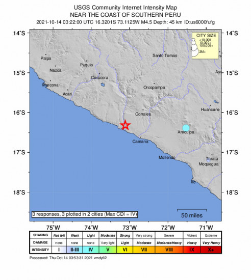 Community Internet Intensity Map for the Urasqui, Peru 4.5m Earthquake, Wednesday Oct. 13 2021, 10:22:00 PM