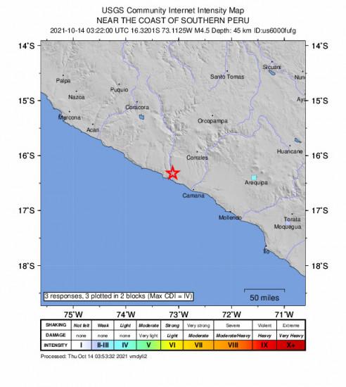 GEO Community Internet Intensity Map for the Urasqui, Peru 4.5m Earthquake, Wednesday Oct. 13 2021, 10:22:00 PM