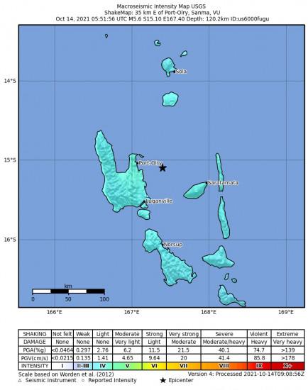 Macroseismic Intensity Map for the Port-olry, Vanuatu 5.6m Earthquake, Thursday Oct. 14 2021, 4:51:56 PM