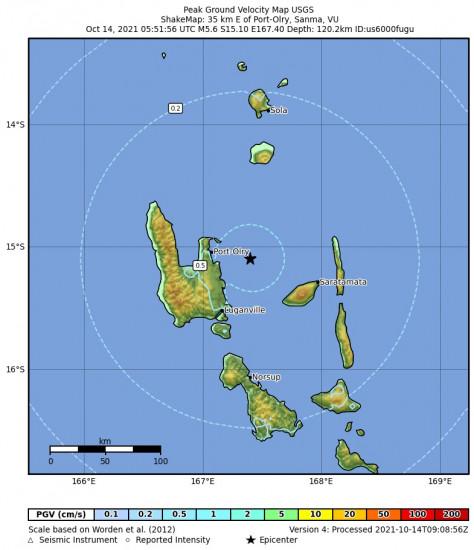 Peak Ground Velocity Map for the Port-olry, Vanuatu 5.6m Earthquake, Thursday Oct. 14 2021, 4:51:56 PM