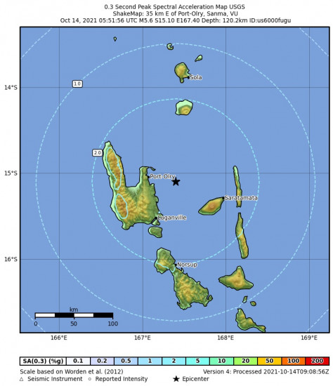 0.3 Second Peak Spectral Acceleration Map for the Port-olry, Vanuatu 5.6m Earthquake, Thursday Oct. 14 2021, 4:51:56 PM