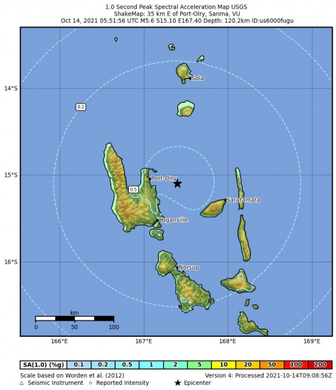 1 Second Peak Spectral Acceleration Map for the Port-olry, Vanuatu 5.6m Earthquake, Thursday Oct. 14 2021, 4:51:56 PM