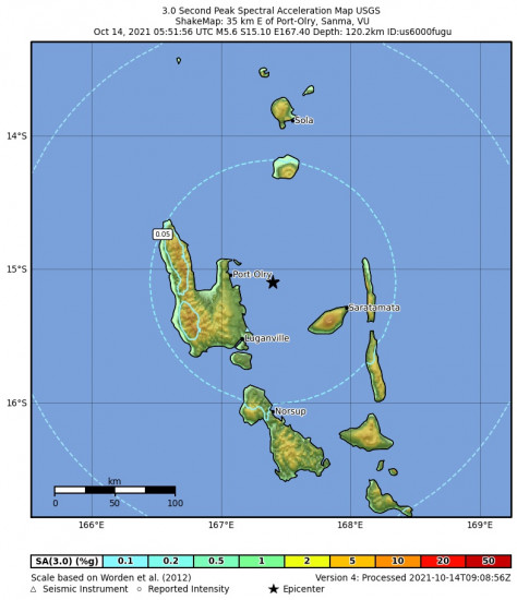 3 Second Peak Spectral Acceleration Map for the Port-olry, Vanuatu 5.6m Earthquake, Thursday Oct. 14 2021, 4:51:56 PM
