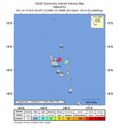 Community Internet Intensity Map for the Port-olry, Vanuatu 5.6m Earthquake, Thursday Oct. 14 2021, 4:51:56 PM