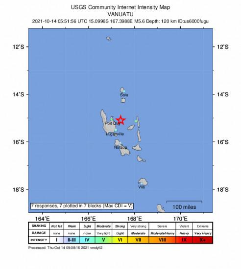 GEO Community Internet Intensity Map for the Port-olry, Vanuatu 5.6m Earthquake, Thursday Oct. 14 2021, 4:51:56 PM