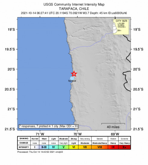 Community Internet Intensity Map for the Iquique, Chile 3.7m Earthquake, Thursday Oct. 14 2021, 3:27:41 AM
