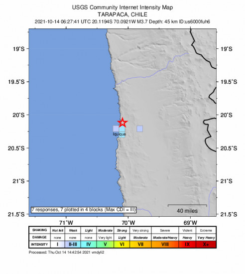 GEO Community Internet Intensity Map for the Iquique, Chile 3.7m Earthquake, Thursday Oct. 14 2021, 3:27:41 AM