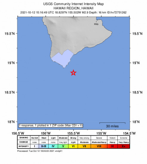 Community Internet Intensity Map for the Naalehu, Hawaii 2.88m Earthquake, Tuesday Oct. 12 2021, 5:16:49 AM