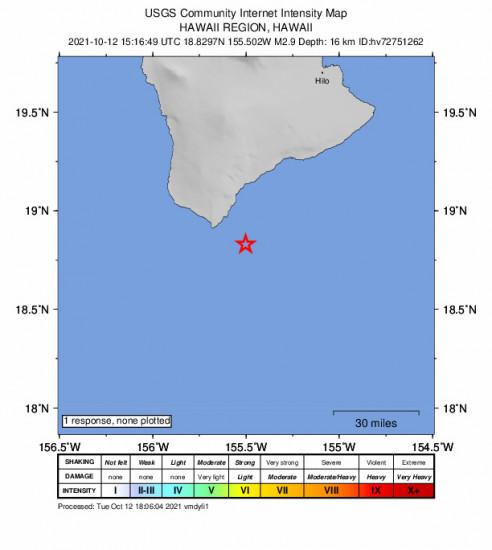 GEO Community Internet Intensity Map for the Naalehu, Hawaii 2.88m Earthquake, Tuesday Oct. 12 2021, 5:16:49 AM