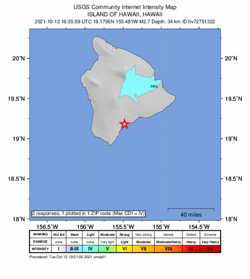 Community Internet Intensity Map for the Pāhala, Hawaii 2.73m Earthquake, Tuesday Oct. 12 2021, 6:35:59 AM