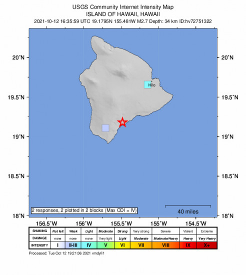 GEO Community Internet Intensity Map for the Pāhala, Hawaii 2.73m Earthquake, Tuesday Oct. 12 2021, 6:35:59 AM