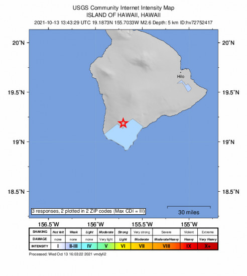 Community Internet Intensity Map for the Hawaiian Ocean View, Hawaii 2.65m Earthquake, Wednesday Oct. 13 2021, 3:43:29 AM