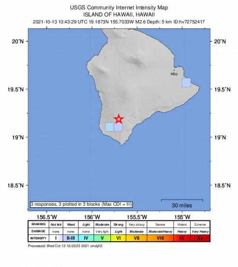 GEO Community Internet Intensity Map for the Hawaiian Ocean View, Hawaii 2.65m Earthquake, Wednesday Oct. 13 2021, 3:43:29 AM