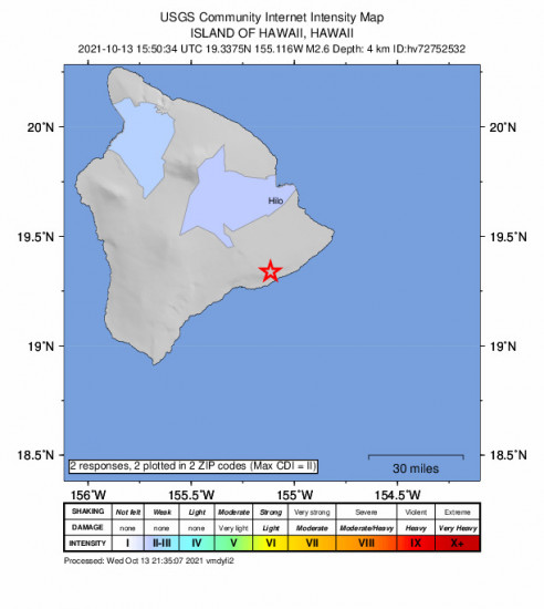 Community Internet Intensity Map for the Fern Forest, Hawaii 2.62m Earthquake, Wednesday Oct. 13 2021, 5:50:34 AM