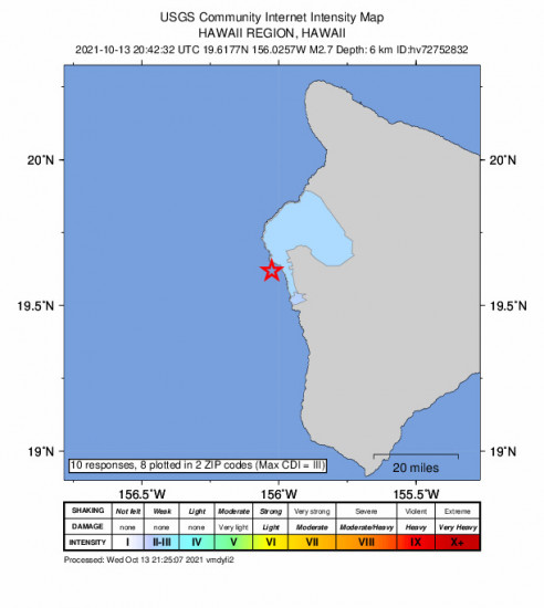 Community Internet Intensity Map for the Kailua-kona, Hawaii 2.67m Earthquake, Wednesday Oct. 13 2021, 10:42:32 AM