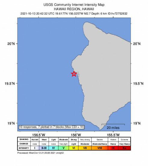 GEO Community Internet Intensity Map for the Kailua-kona, Hawaii 2.67m Earthquake, Wednesday Oct. 13 2021, 10:42:32 AM