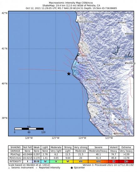 Macroseismic Intensity Map for the Petrolia, Ca 3.66m Earthquake, Tuesday Oct. 12 2021, 4:29:05 AM