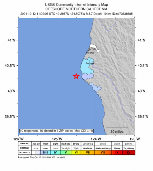 Community Internet Intensity Map for the Petrolia, Ca 3.66m Earthquake, Tuesday Oct. 12 2021, 4:29:05 AM