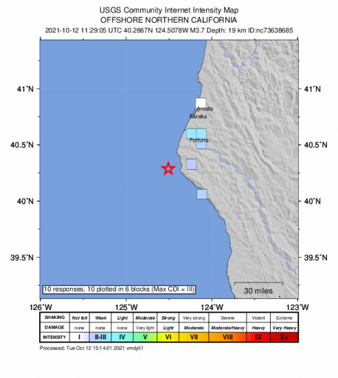 GEO Community Internet Intensity Map for the Petrolia, Ca 3.66m Earthquake, Tuesday Oct. 12 2021, 4:29:05 AM