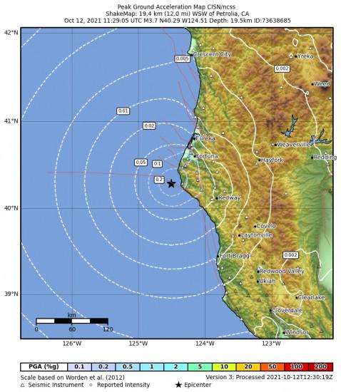 Peak Ground Acceleration Map for the Petrolia, Ca 3.66m Earthquake, Tuesday Oct. 12 2021, 4:29:05 AM