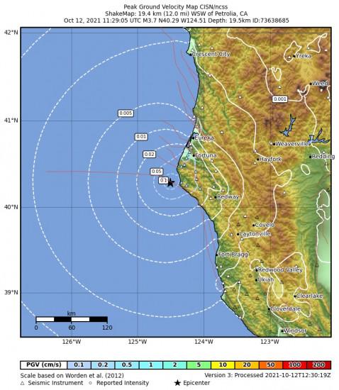 Peak Ground Velocity Map for the Petrolia, Ca 3.66m Earthquake, Tuesday Oct. 12 2021, 4:29:05 AM